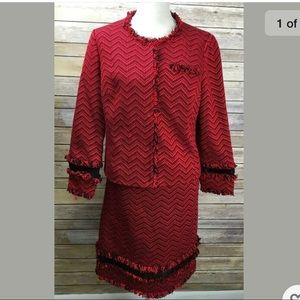 Carlisle size 0 red tweed skirt suit
